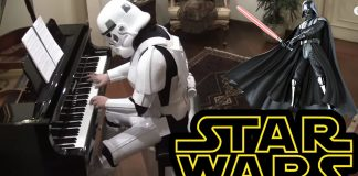 Stormtrooper Killing the Imperial March on Piano