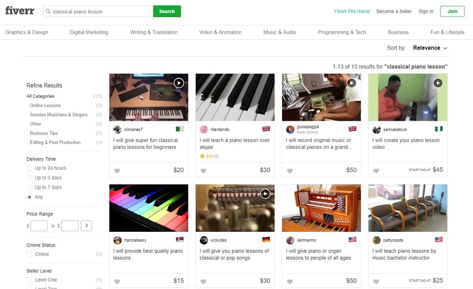 fiverr learn classical piano online