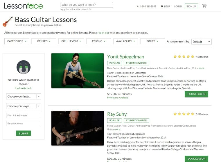 lessonface learn bass guitar online