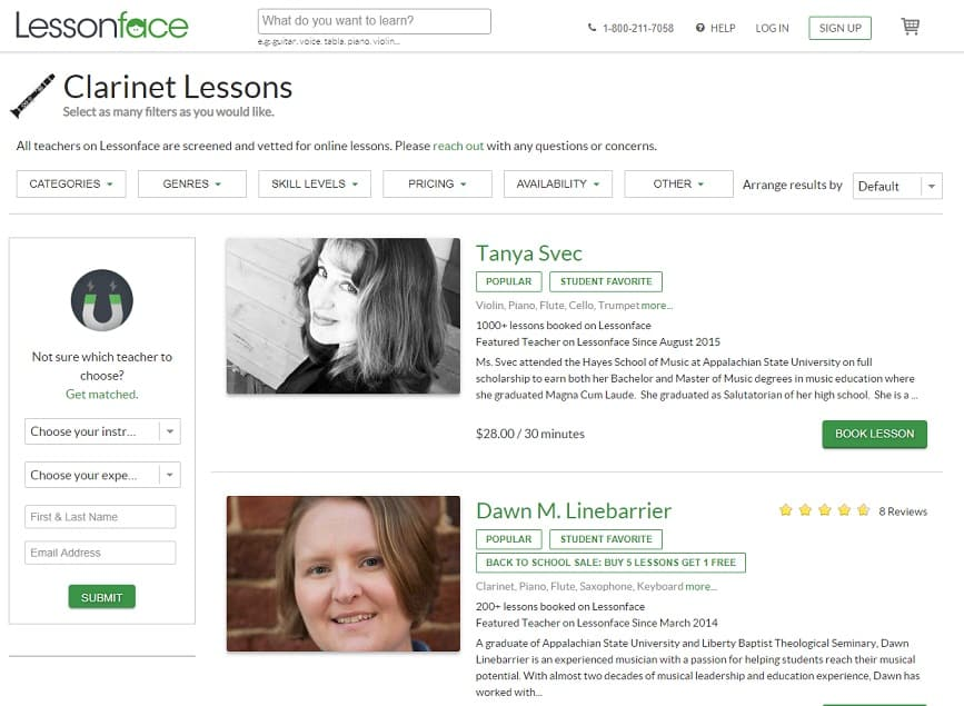 lessonface Learn Clarinet Online