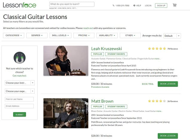 lessonface Learn Classical Guitar Online