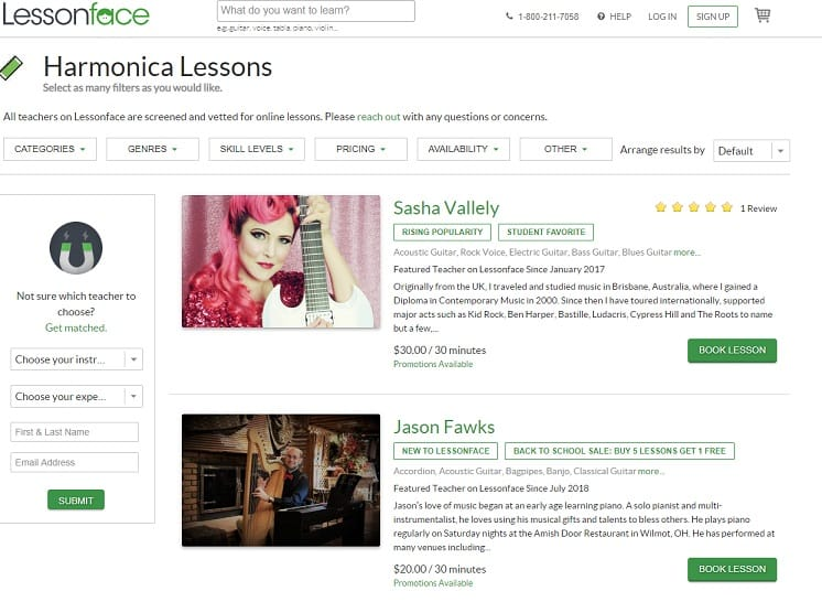 lessonface learn harmonica online