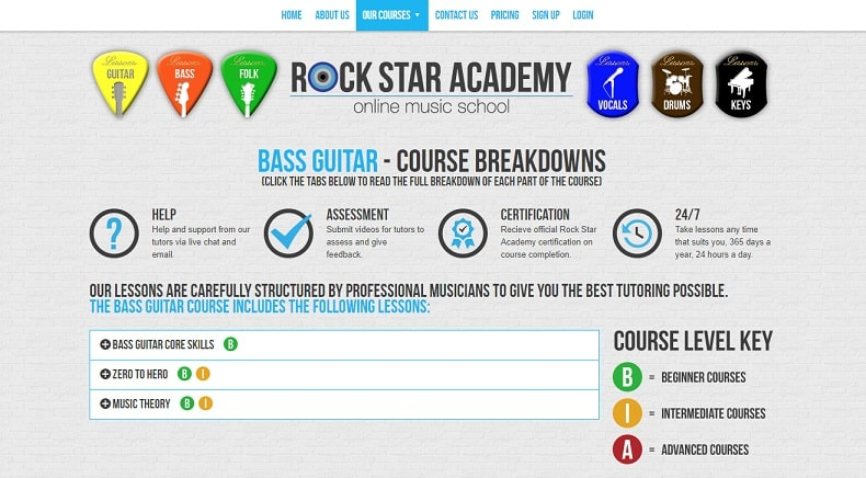 rockstaracademy learn bass guitar online
