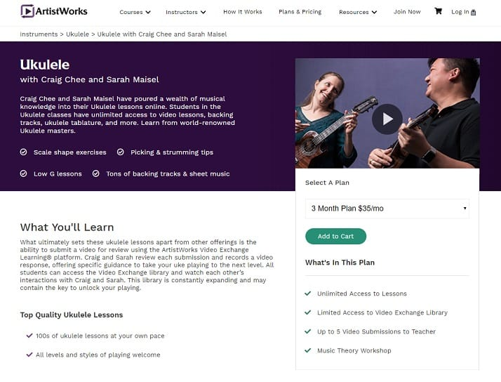 ArtistWorks Craig Chee and Sarah Maisel Ukulele Lesson Review