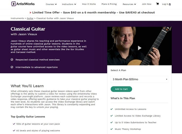 ArtistWorks Jason Vieaux Classical Guitar Lesson Review