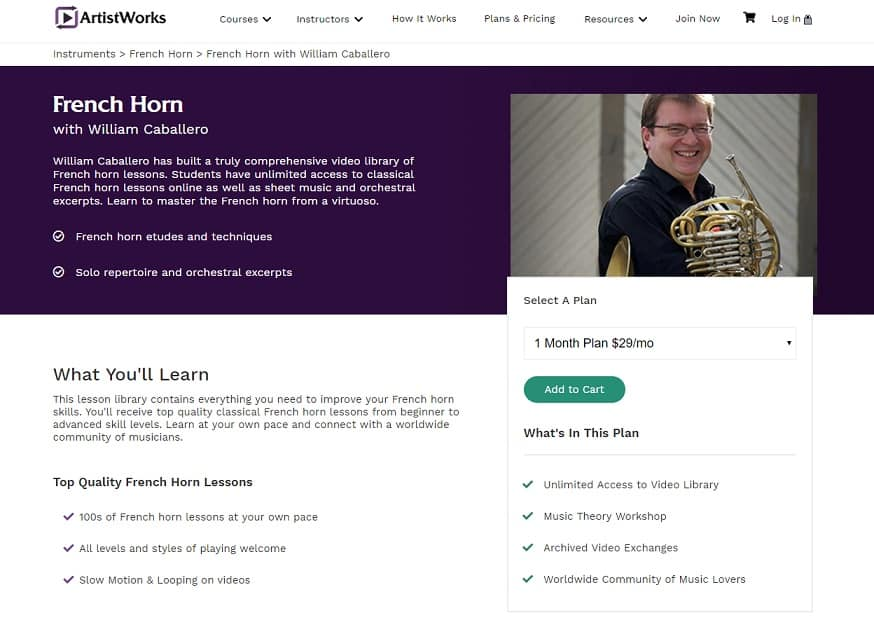 ArtistWorks William Caballero French Horn Lessons Review