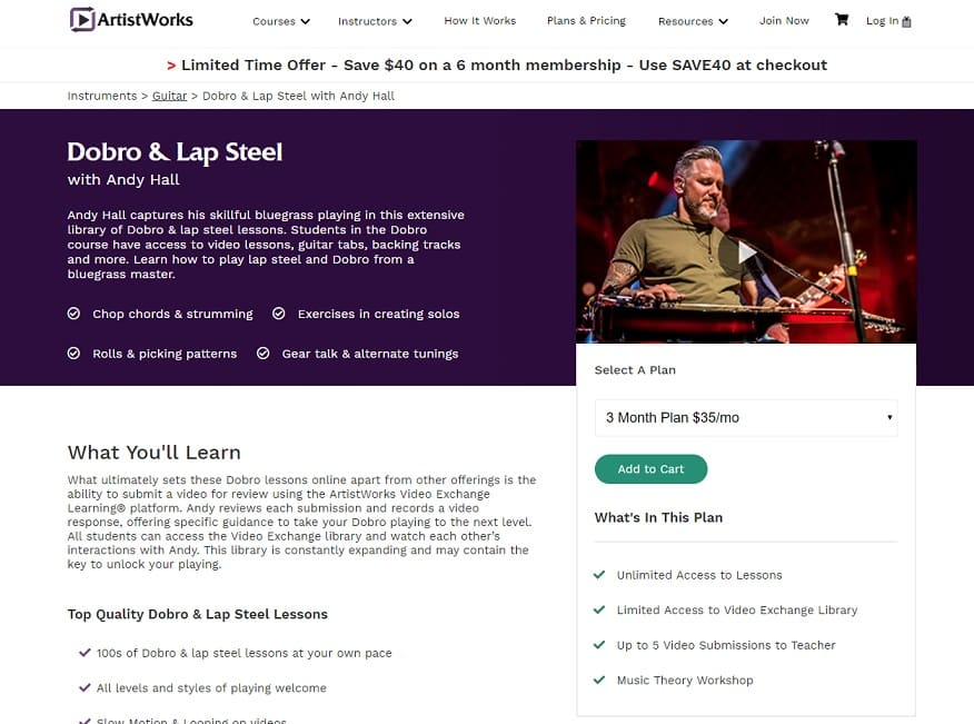 ArtistWorks Andy Hall Dobro Lessons Review