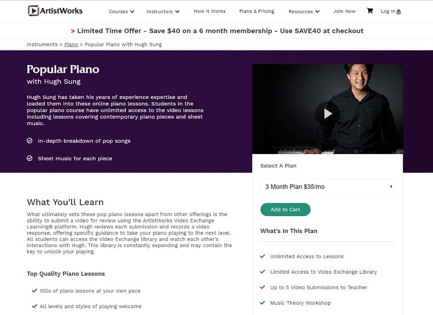 Artistworks Hugh Sung Popular Piano Lesson Review