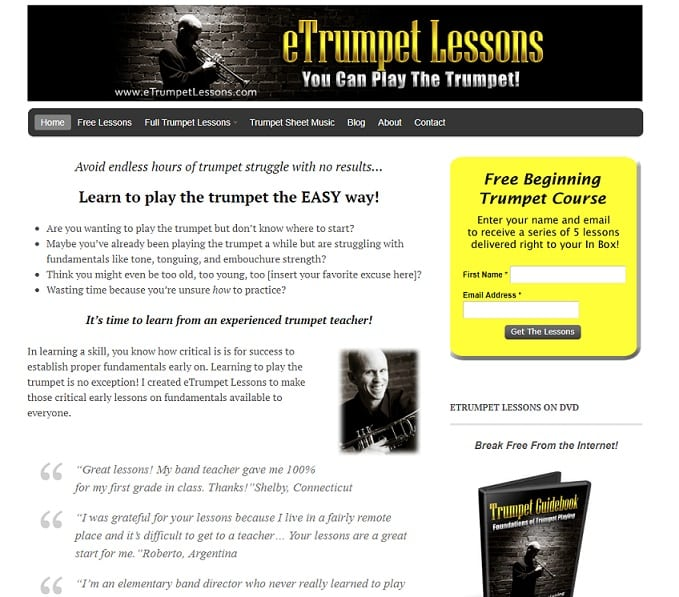 etrumpetlessons Learn Trumpet Online