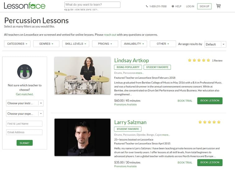 lessonface Learn Percussion Online