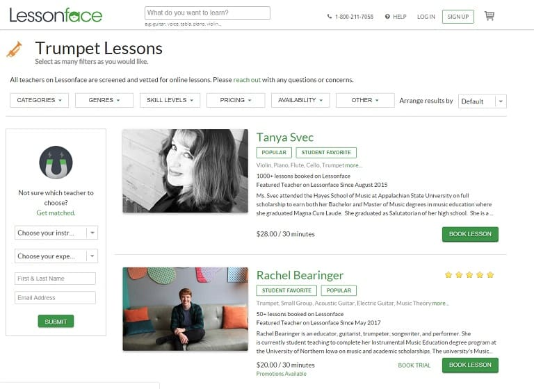 lessonface Learn Trumpet Online
