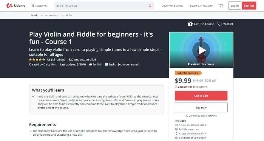Udemy Course 4 Violin Lessons for Beginners