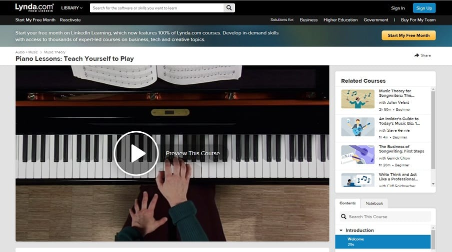 Lynda Course 1 Classical Piano Lessons for Beginners