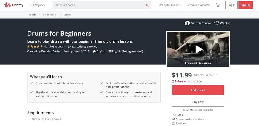 udemy-course-1 Drum Lessons for beginners