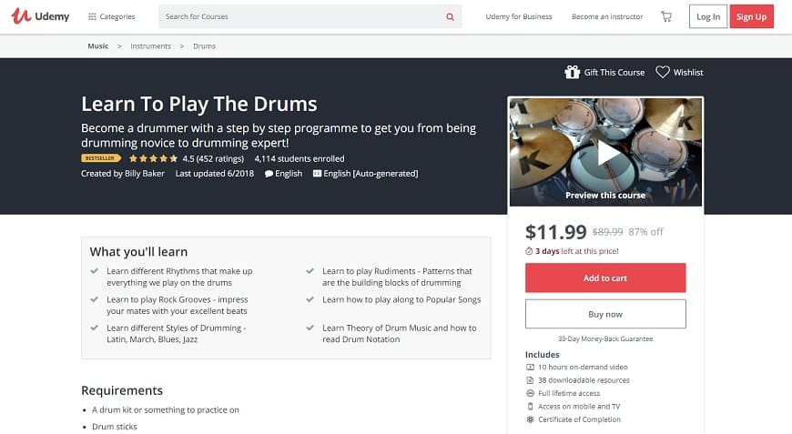 udemy-course-2 Drum Lessons for beginners