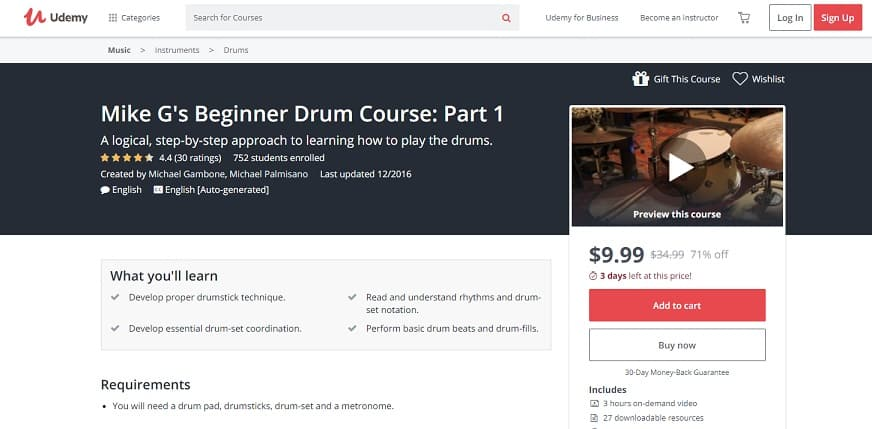 udemy-course-3 Drum Lessons for beginners