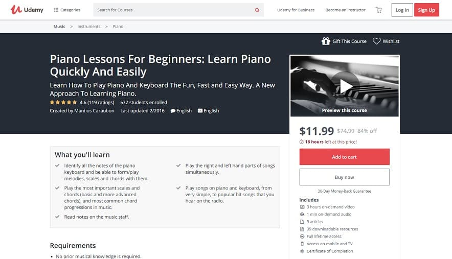 Udemy Course 6 Classical Piano Lessons for Beginners