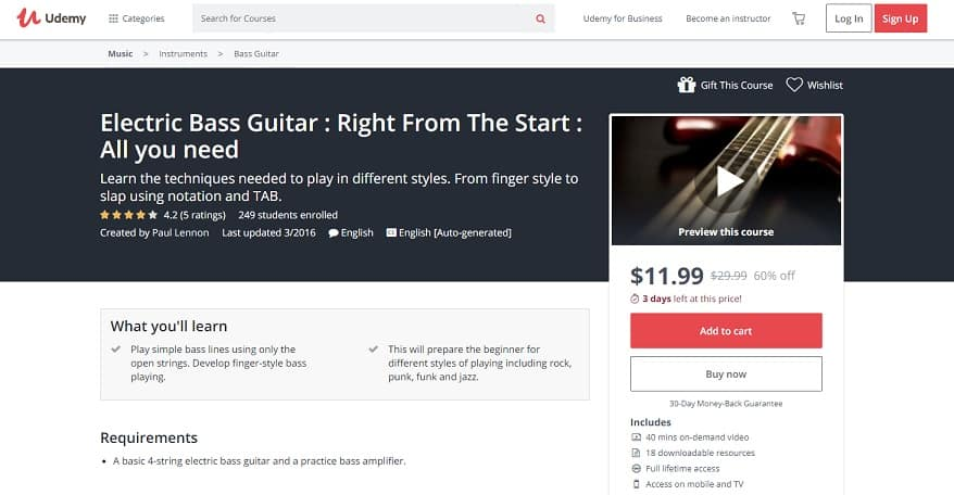 udemy-course-7 Bass Guitar Lessons for Beginners