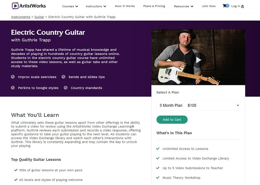 Artistworks Guthrie Trap Electric Country Guitar Lesson Review
