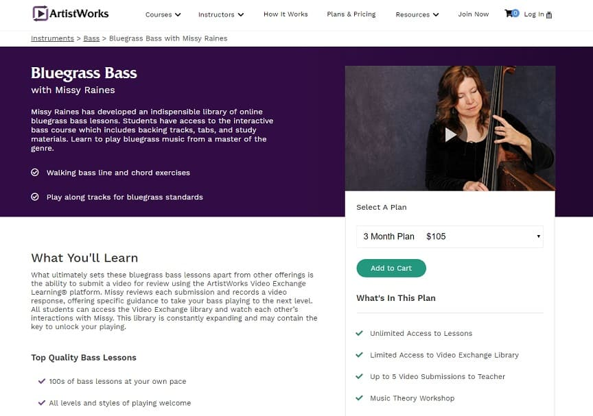 Artistworks Missy Raines Bluegrass Bass Lesson Review