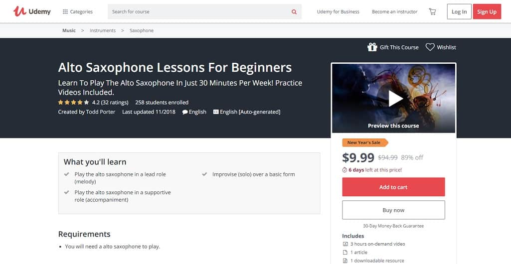udemy-course-2 Saxophone Lessons for Beginners