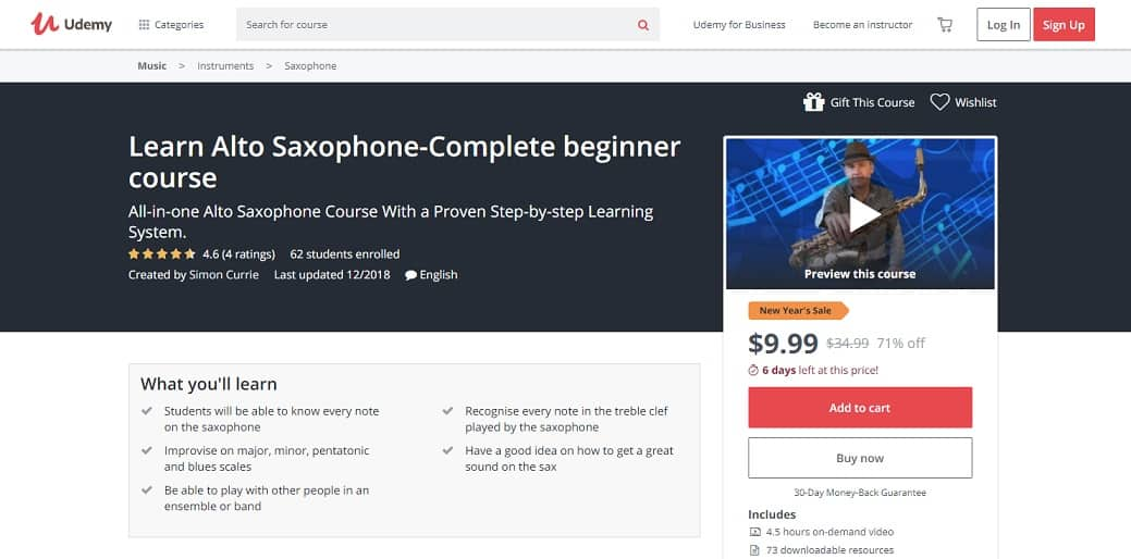 udemy-course-7 Saxophone Lessons for Beginners