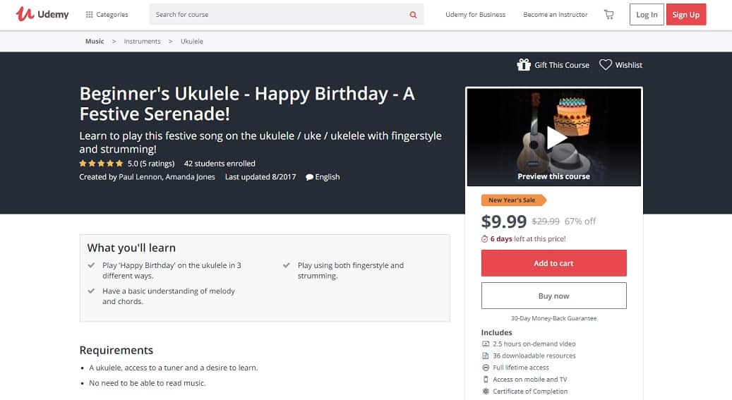 udemy-course-7 Ukulele Lessons for Beginners