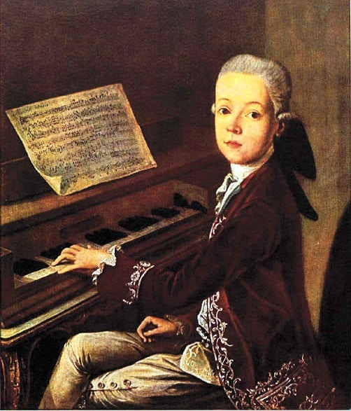 Little Mozart Playing Piano