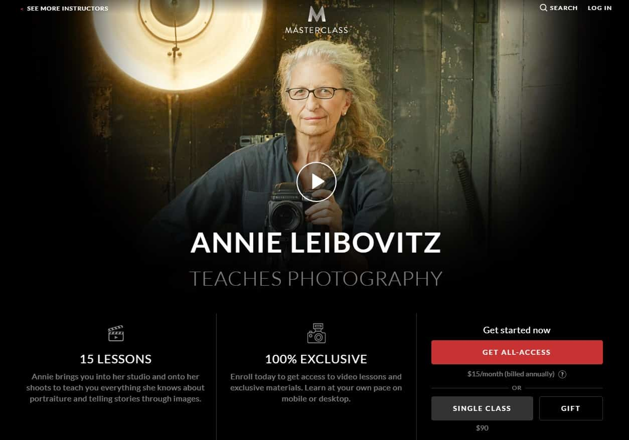 MasterClass Annie Leibovitz Photography Lesson Review