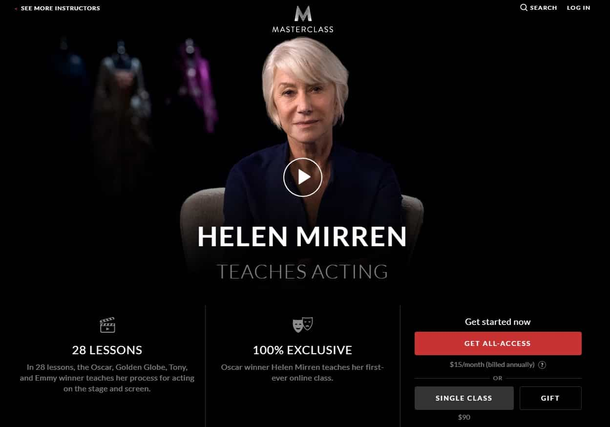 MasterClass Helen Mirren Acting Lesson Review
