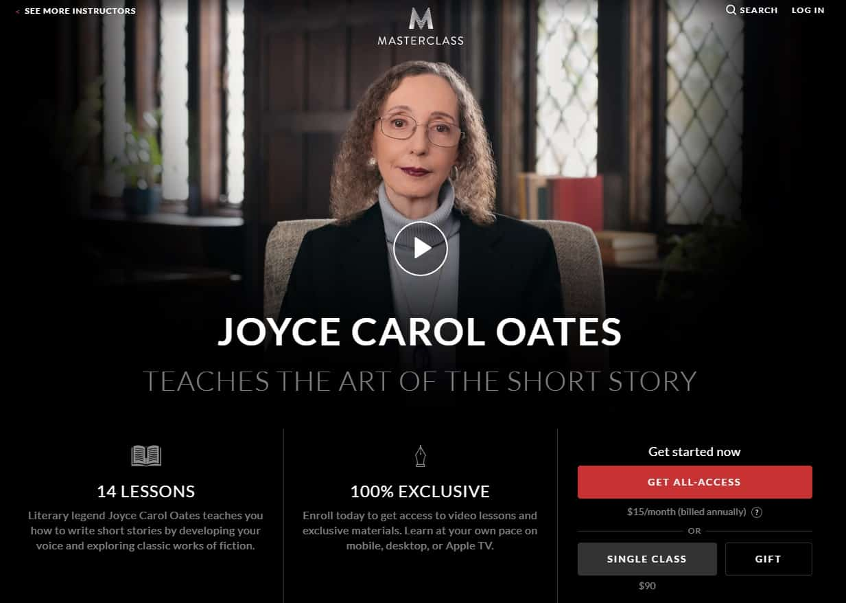 MasterClass Joyce Carol Oates Story Writing Lesson Review