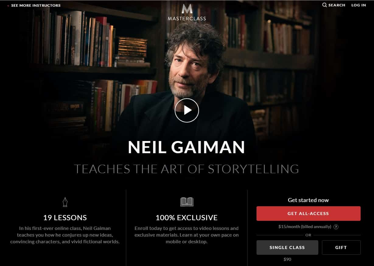 MasterClass Neil Gaiman Art of Storytelling Lesson Review