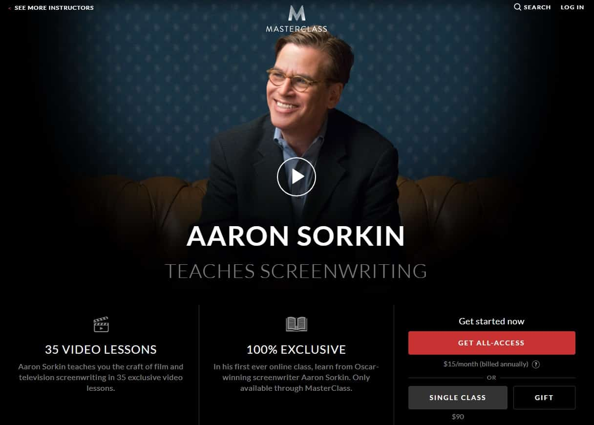 MasterClass Aaron Sorkin Screenwriting Lesson Review