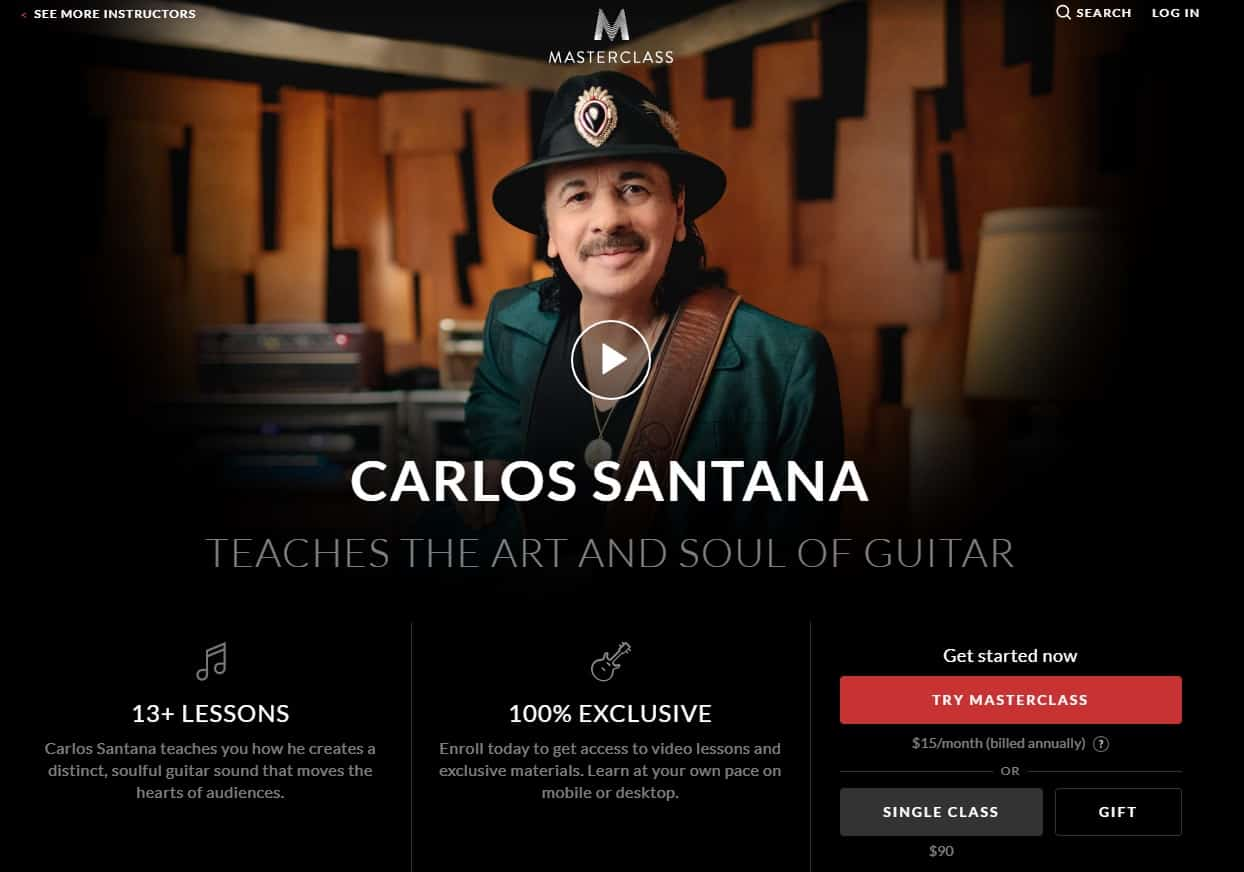 MasterClass Carlos Santana the Art and Soul of Guitar Lesson Review