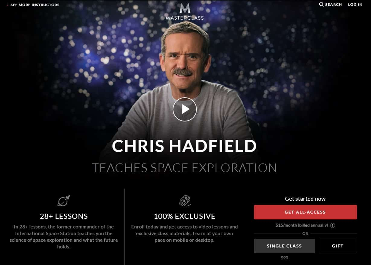 MasterClass Chris Hadfield Space Exploration Lesson Review