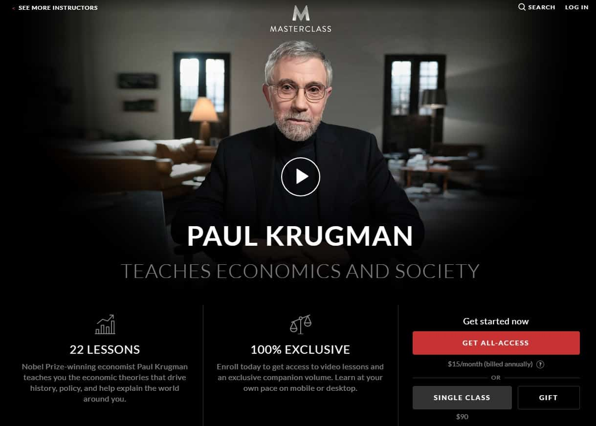 MasterClass Paul Krugman Economics and Society Lesson Review