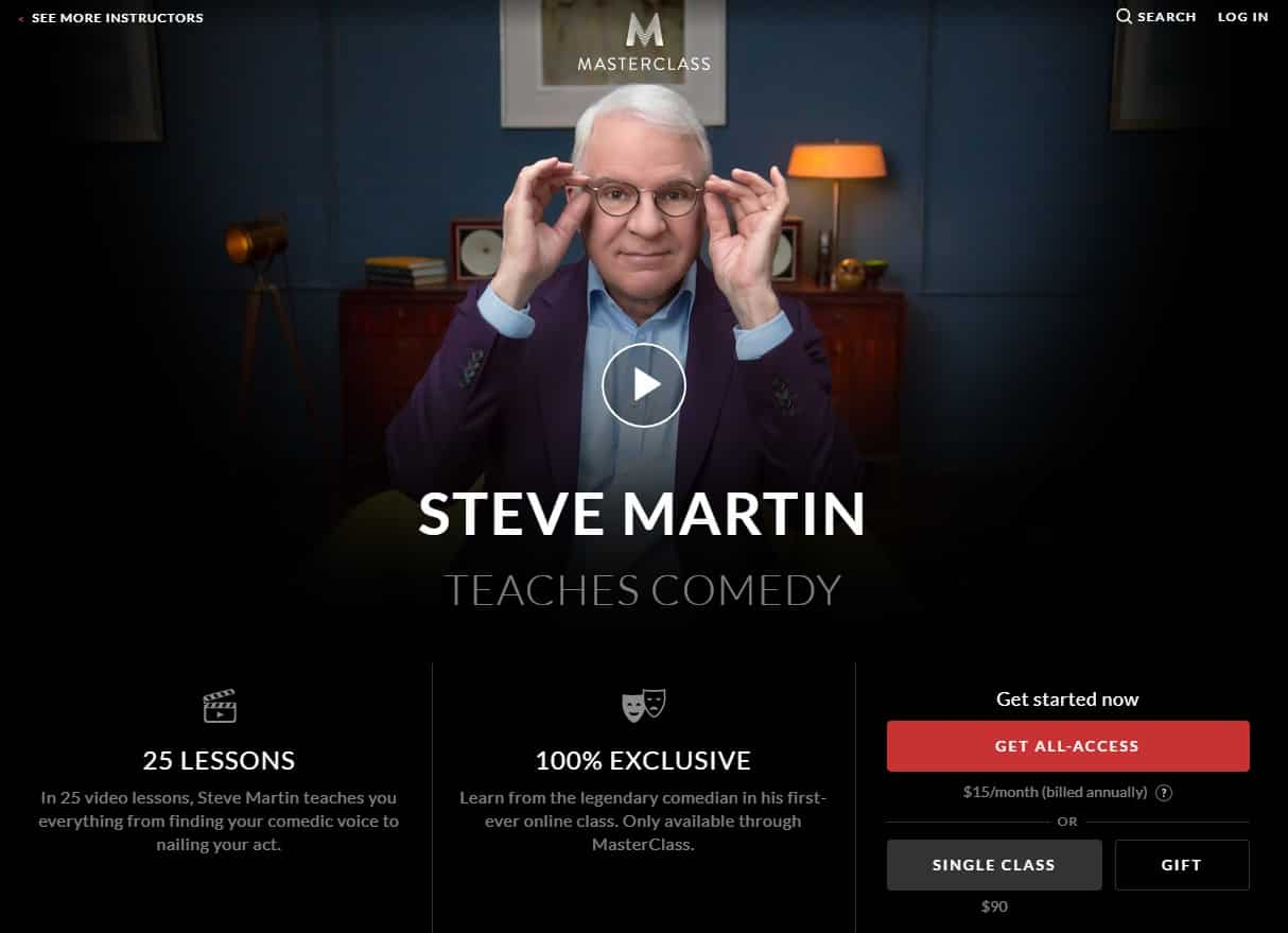 MasterClass Steven Martin Comedy Lesson Review