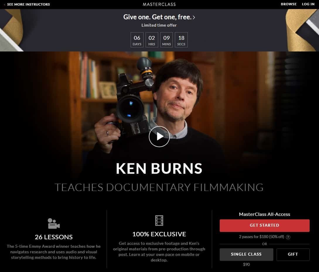 MasterClass Ken Burns's Documentary Filmmaking Lesson Review