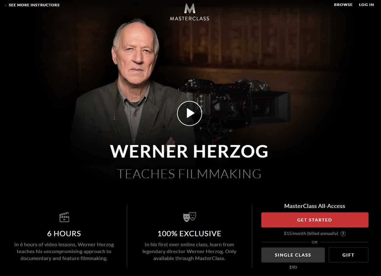 MasterClass Werner Herzog's Filmmaking Lesson Review