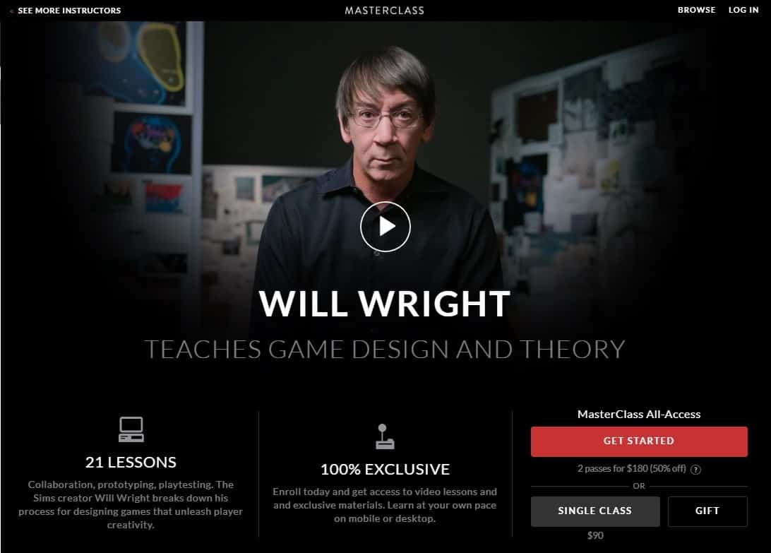MasterClass Will Wright Game Design and Theory Lesson Review