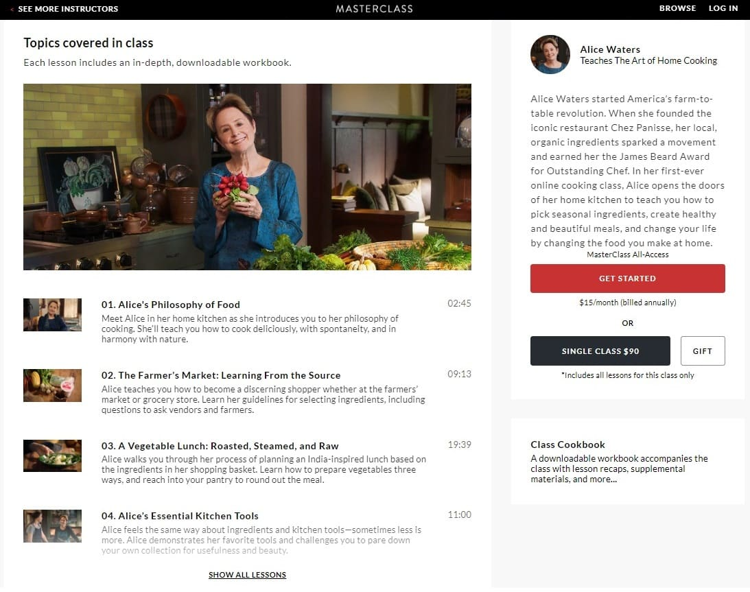 MasterClass Alice Waters The Art of Home Cooking Lesson Review
