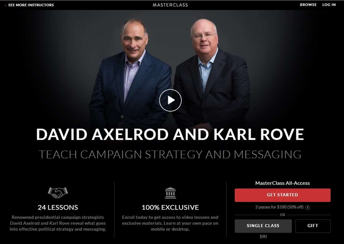 MasterClass David Axelrod and Karl Rove Campaign Strategy and Messaging Lesson Review