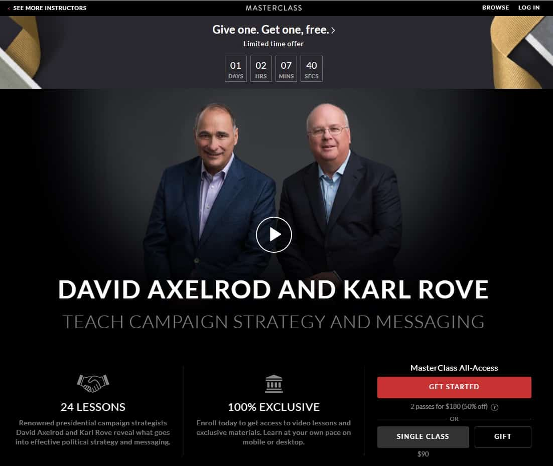 MasterClass David Axelrod and Karl Rove's Campaign Strategy and Messaging Lesson Review