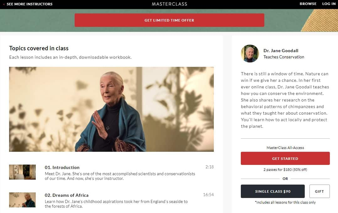 MasterClass Dr. Jane Goodall's Conservation Lesson Review