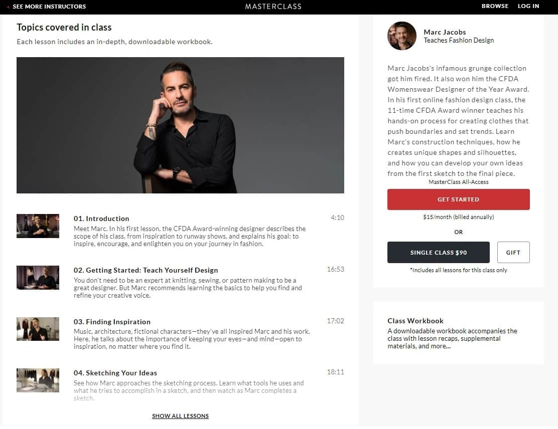 MasterClass Marc Jacobs Fashion Design Lesson Review