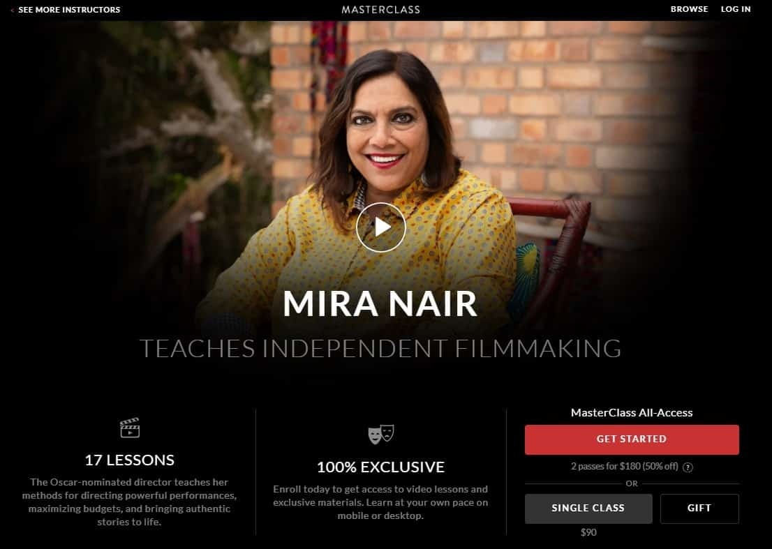 MasterClass Mira Nair Independent Filmmaking Lesson Review
