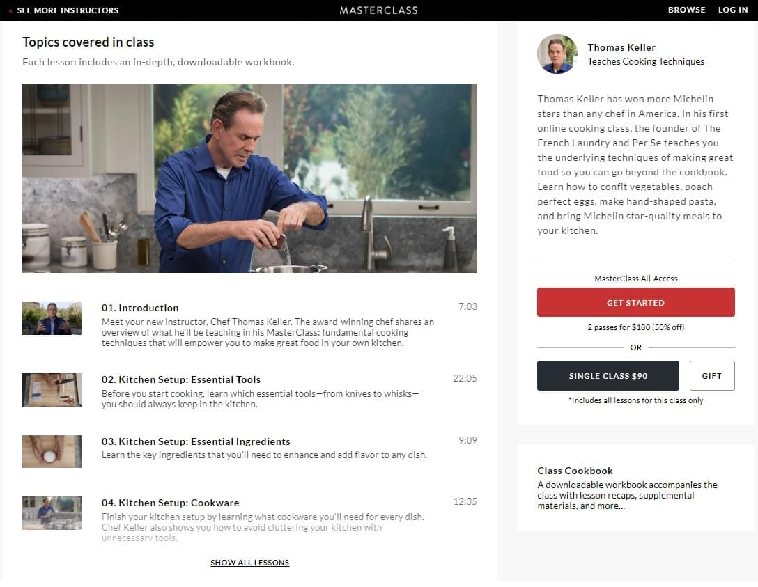 MasterClass Thomas Keller Cooking Techniques Lesson Review