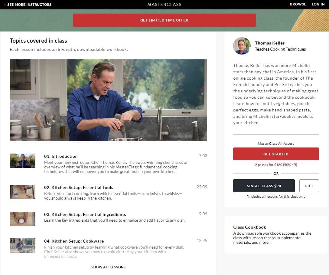 MasterClass Thomas Keller's Cooking Techniques Lesson Review