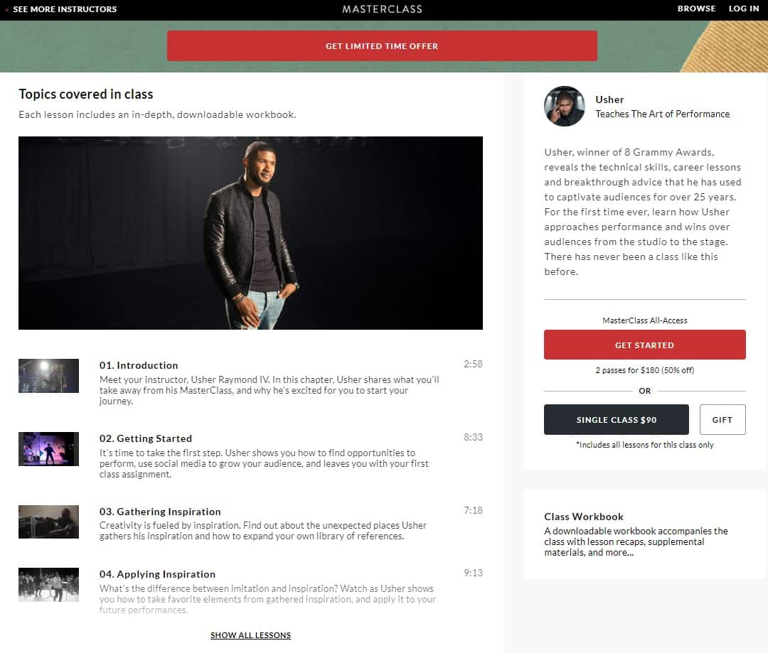 Masterclass Usher S The Art Of Performance Lesson Online Review Cmuse