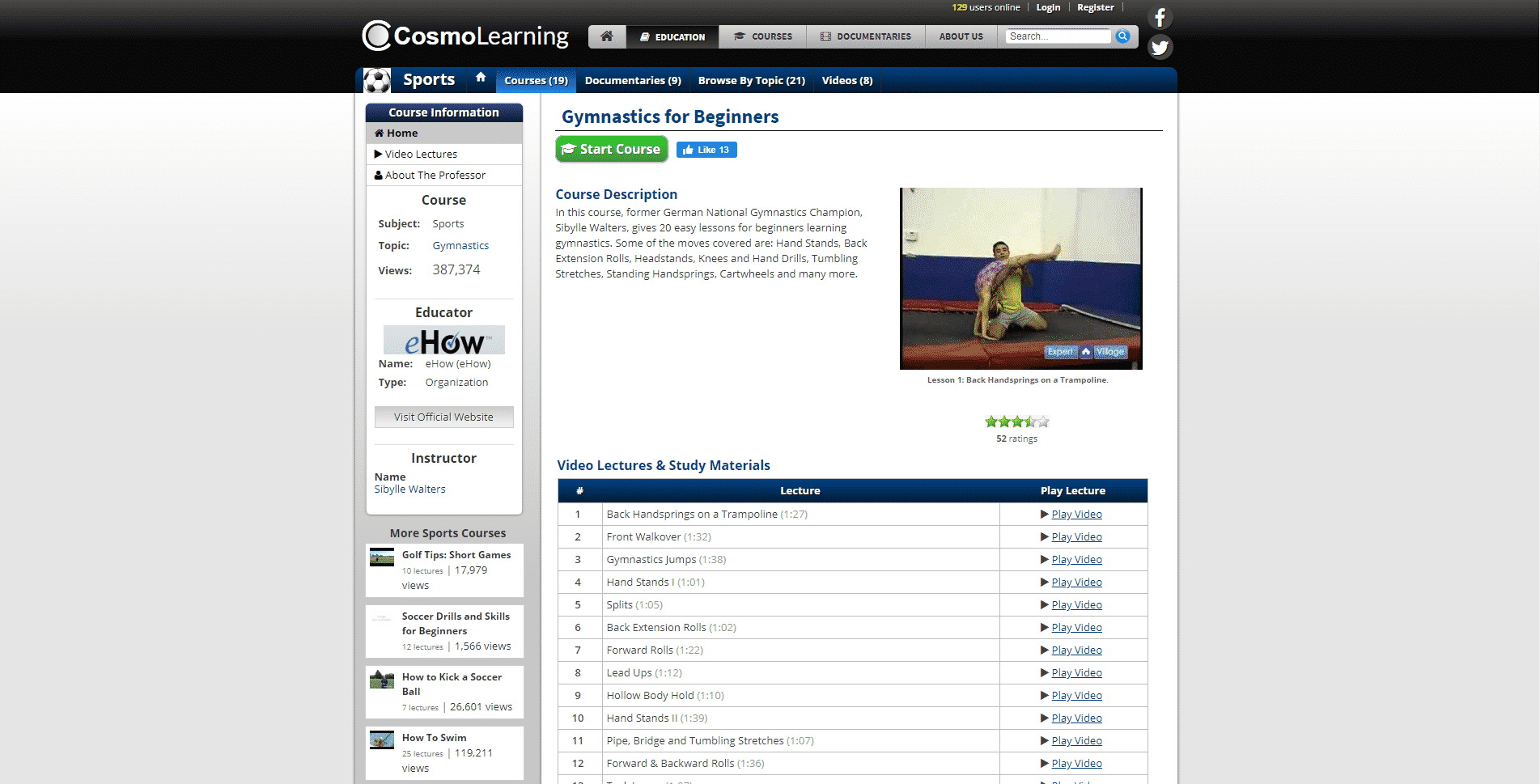 Cosmo Learning Learn Gymnastics Lessons Online
